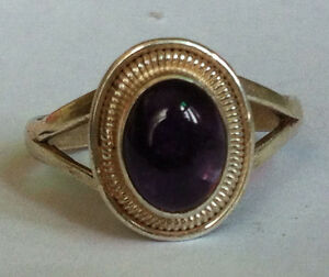 Sterling-Silver-Traditional-Asian-Vintage-Style-Amethyst-Stone-Ring-Size-R-Gift