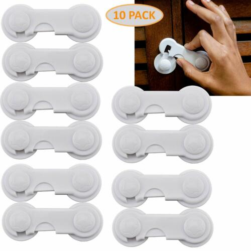 Cabinet Locks Child Safety Latch Pack of 10 Childproof Sliding Adhesive Lock