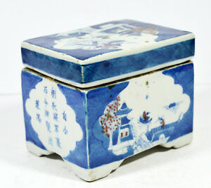 ANTIQUE-CHINESE-PORCELAIN-PEN-BOX-QING-DYNASTY-BLUE-AND-RED-AND-CALLIGRAPHY
