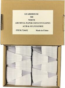 2x2 Paper Envelopes Coin Safe Archival White Bulk Box Of 500 Acid