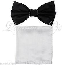 Two Tone Black White Butterfly Bow tie And White Handkerchief Set Wedding Prom