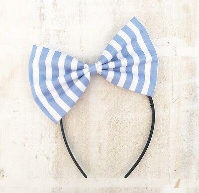 Pastel Blue And White Stripe oversized Bow Headband