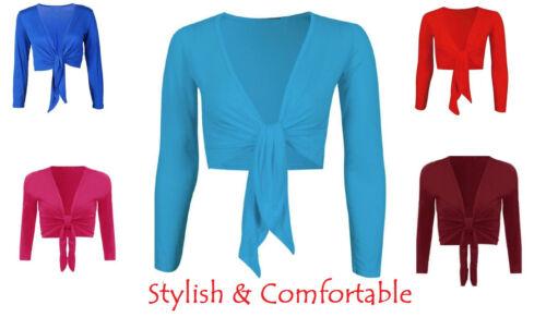 Womens Plain Front Tie Ladies Short Sleeves Bolero Top Cropped Cardigan Shrug*Ti