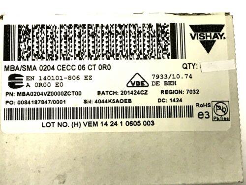 0r 0,0 Ohm mba0204vz0000zct00 02040 155 ° 200v 100 piezas 4w Vishay