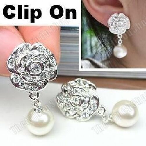 CLIP ON rhinestone PEARL&CRYSTAL diamante ROSE drop EARRINGS silver plated big