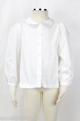 JACADI Girl/'s Sablerie White Button Down Blouse Size 2 Years NWT $44