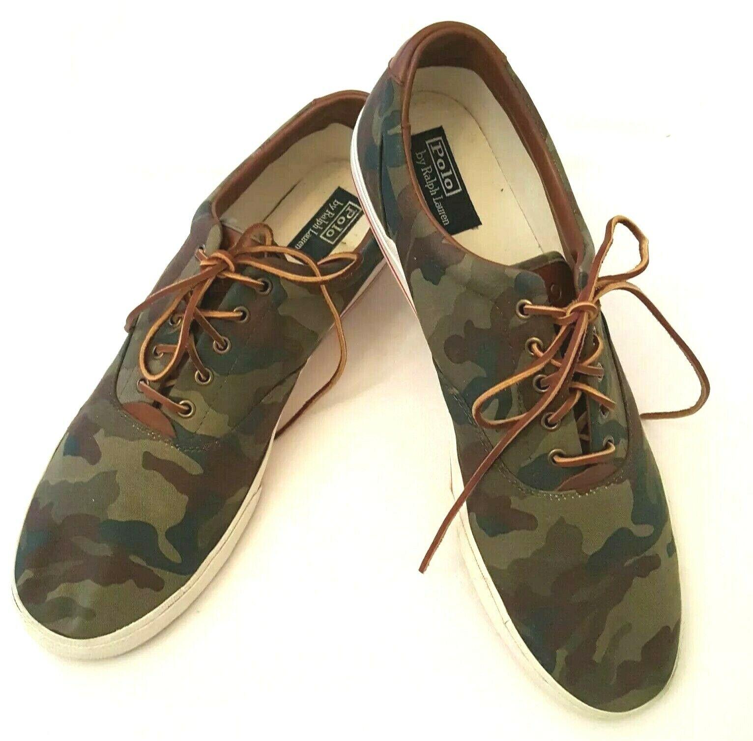 Polo Ralph Lauren Mens 17D Green Camoflage Vaughn Canvas Sneaker shoes Polo Pony