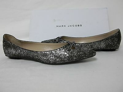 Marc Jacobs Size EU 36.5 US 6.5 M MJ21093 Silver Leather Flats New Womens Shoes