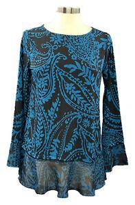 SUSAN-GRAVER-size-S-black-teal-paisley-Liquid-Knit-L-S-blouse-w-chiffon-cuff-hem