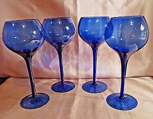4 hand blown glass wine goblets cobalt blue bulbous for Thin stem wine glasses