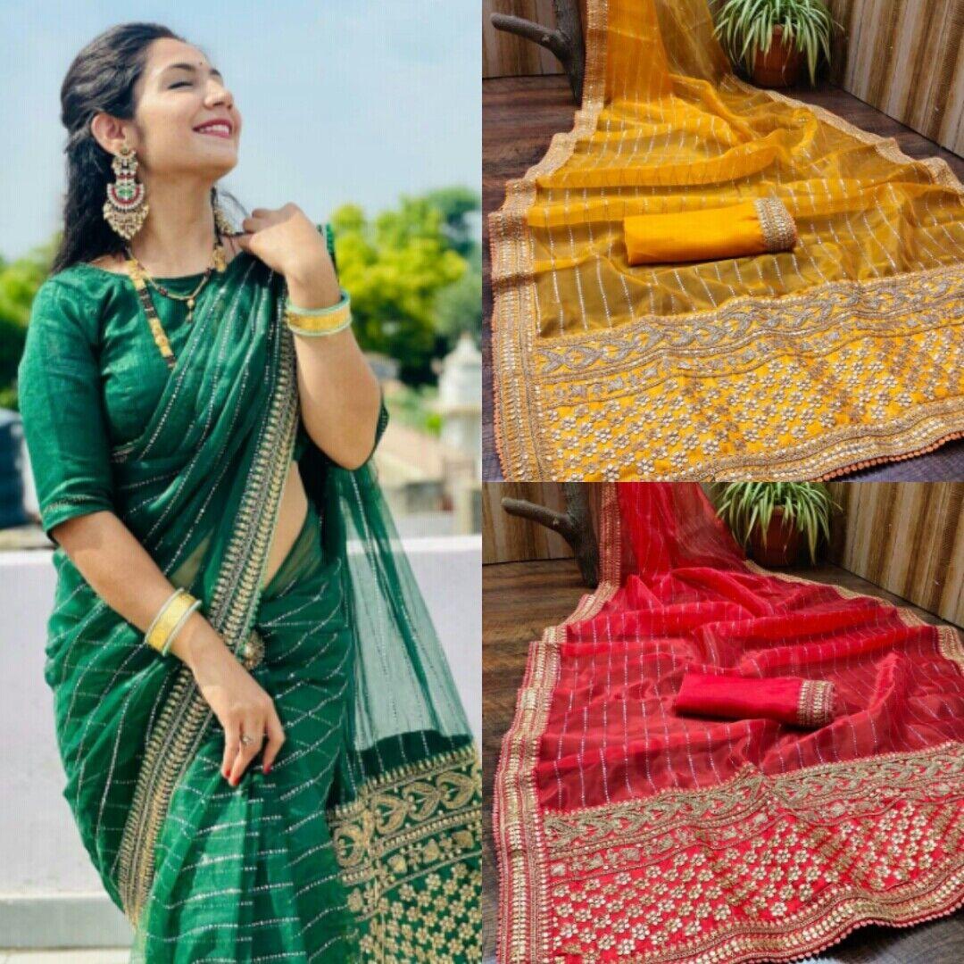 Saree Sari Indian Pakistani Wedding Designer Bollywood Party Wear Women Saree