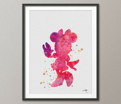 Minnie Mouse Mickey Mouse Watercolor Print Archival Disney Fine Art Print Kids 2