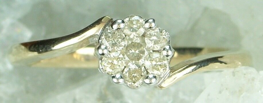 NEW Genuine Solid 9CT Yellow gold Natural Diamond Engagement Ring  Size N  6 1 2