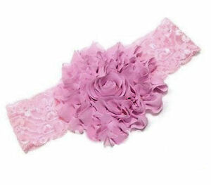 Baby-Girl-Pink-Flower-Lace-HEADBAND-Rose-Baby-Toddler-Hairband-FREE-POSTAGE