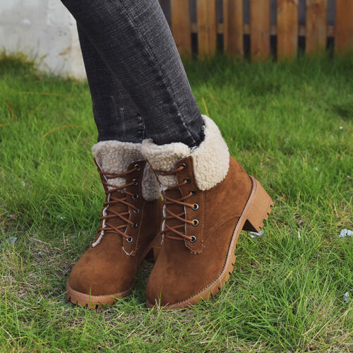 Winter Women Ankle Martin Boots Lace Up Round Toe Warm Cotton Frosted Shoes Size