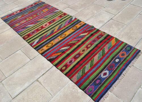 Turkish Kilim Runner Rug Hand Woven Wool Flat Weave Rug 38″ x 93″