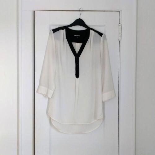 Express Shear Off White & Black Detail Blouse XS