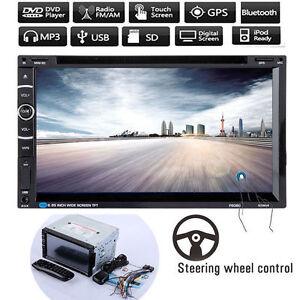 "7""HD Bluetooth 2DIN Car Stereo MP3 DVD Player GPS Navi FM Radio Rear View Camera"