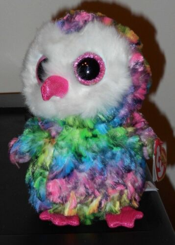 Ty Beanie Boos ~ OWEN the Multi Color Owl (1st Version)(6 Inch) NEW ~ RETIRED