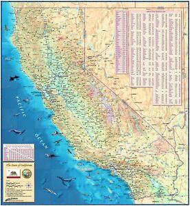 Decorative California State Wall Map Sizes Laminated EBay - Laminated state wall maps