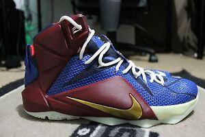 6b3bbadd92f NEW Nike LEBRON 12 NikeiD ID Sz 11.5 BLUE RED GLOW IN THE DARK