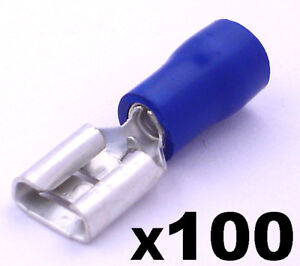100x Electrical Spade Crimp Connector Terminals Fully Insulated Blue Female NICE
