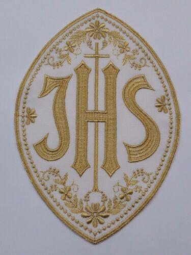 Christogram IHS Latin Cross Emblem Gold Embroidered Clergy Vestment Altar 1 Pc.