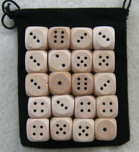 14mm-Lot-of-100-Wooden-Dice-with-1x-Bag-set-14mm-d6-pips-wood