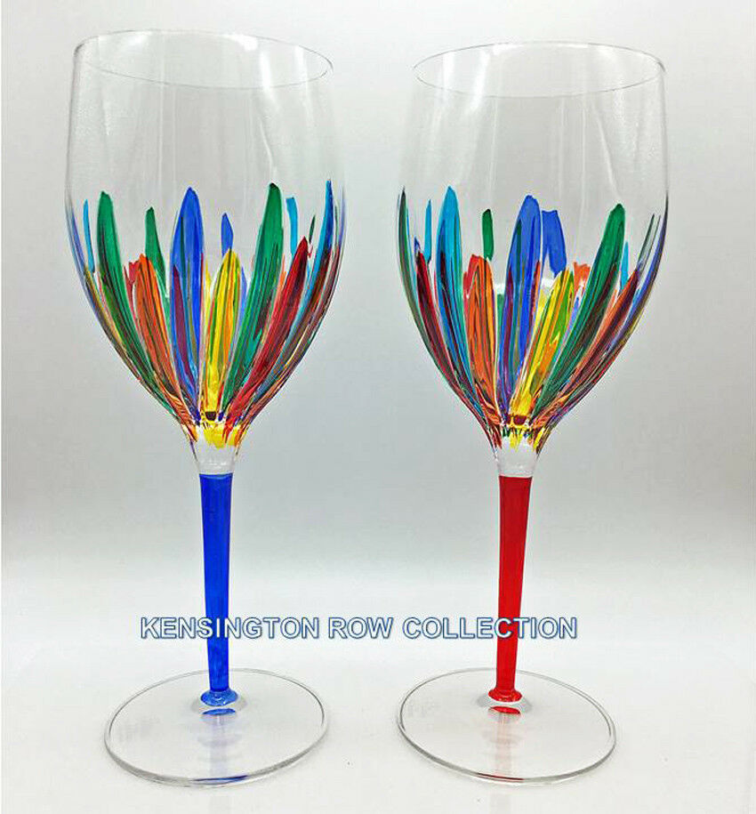 RAVENNA  OVERTailleD WINE GLASSES - SET 2 - bleu & rouge - VENETIAN GLASSWARE