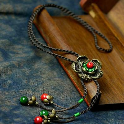 40cm Length// Vintage Hammered /'Flower/' Pendant Necklace In Burn Silver Finish