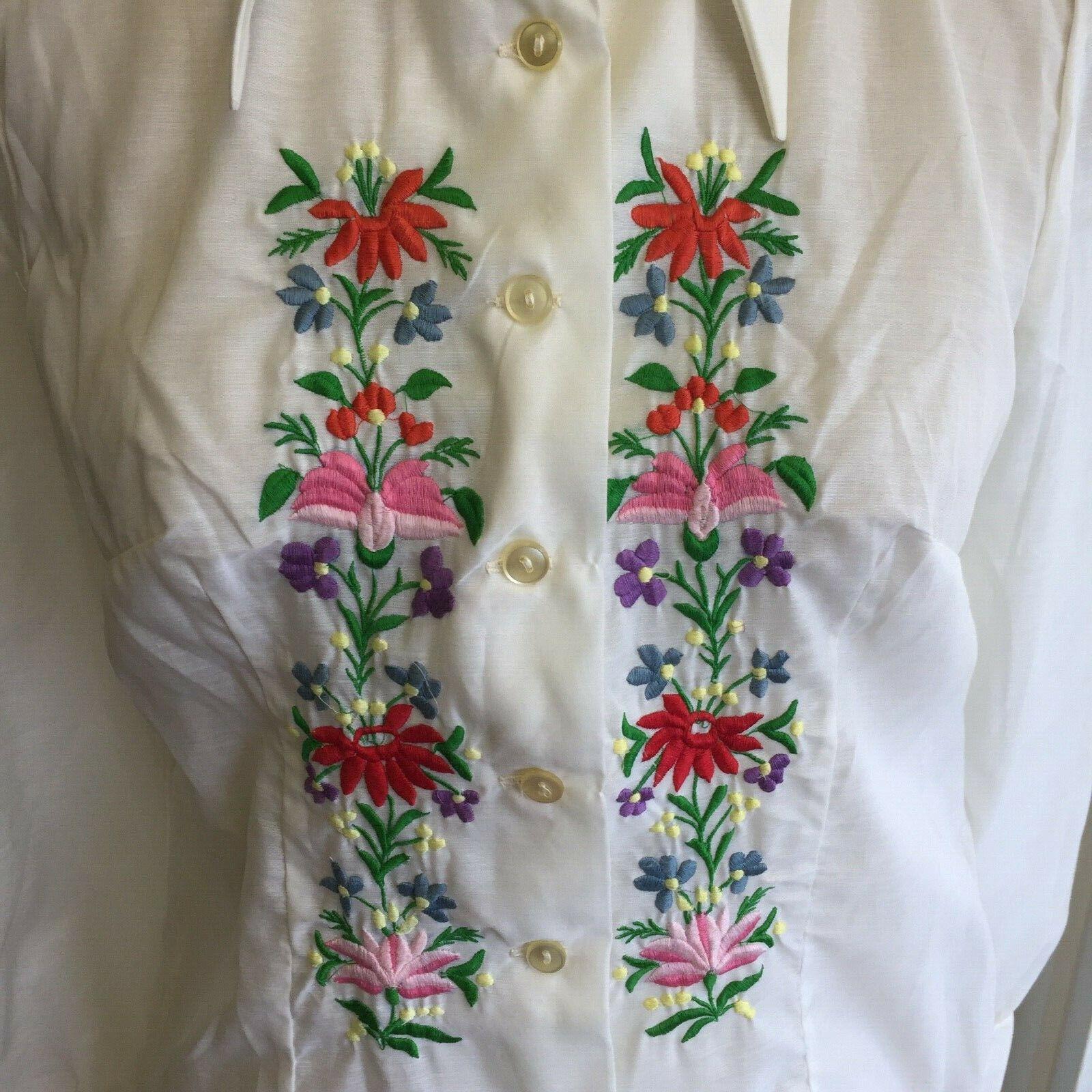 Vtg Hungarian BLOUSE Kalocsa Style Embroidered Sh… - image 2
