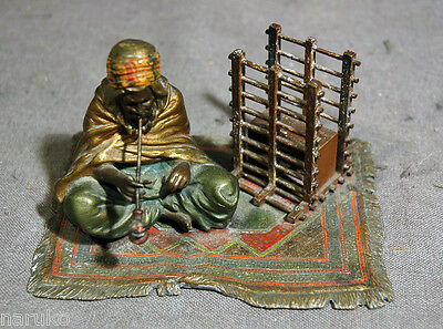 BRONZE  UNUSUAL SIGNED BERGMAN POLYCHROME ARAB SMOKING W/ UNUSUAL IMPLEMENT