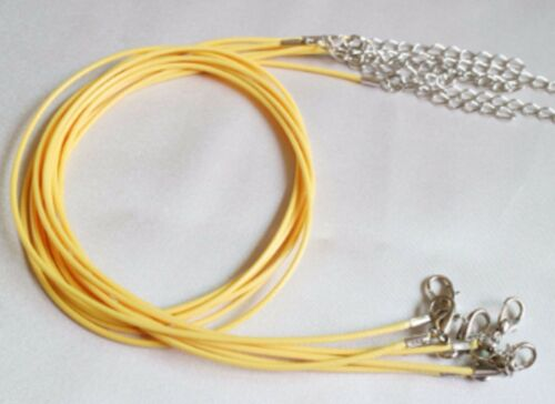 """1mm Yellow Waxed Leather Rope Choker Necklace Chain for Pendant 18/"""" Cord UK LT"""