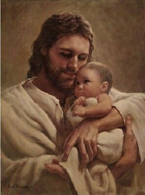 Del Parson IN THE ARMS OF HIS LOVE 14x11 unframed paper giclee Jesus holds baby