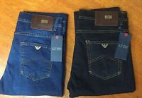Bnwt Armani AJ Jeans J45 Regular Fit Dark Wash Stone Wash Denim Blue