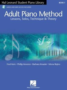 Adult Piano Method Book 1 Hal Leonard Student Beginner Lessons with Online Audio