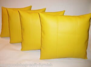 """2 Yellow Faux Leather Classic Cushion Covers 16/"""" 18/"""" 20/"""" Scatter Pillows"""