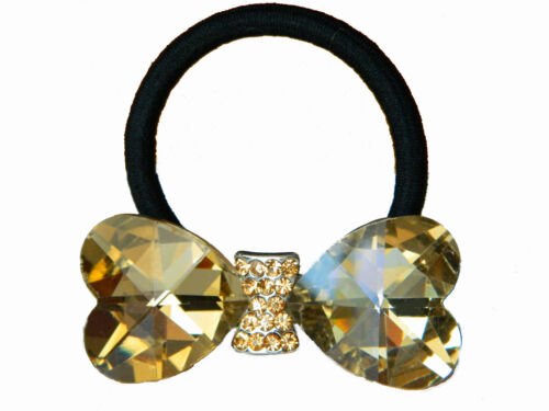 Luxury Gold Champagne Crystal Big Bow Black Elastic Hair Band Accessories HA47