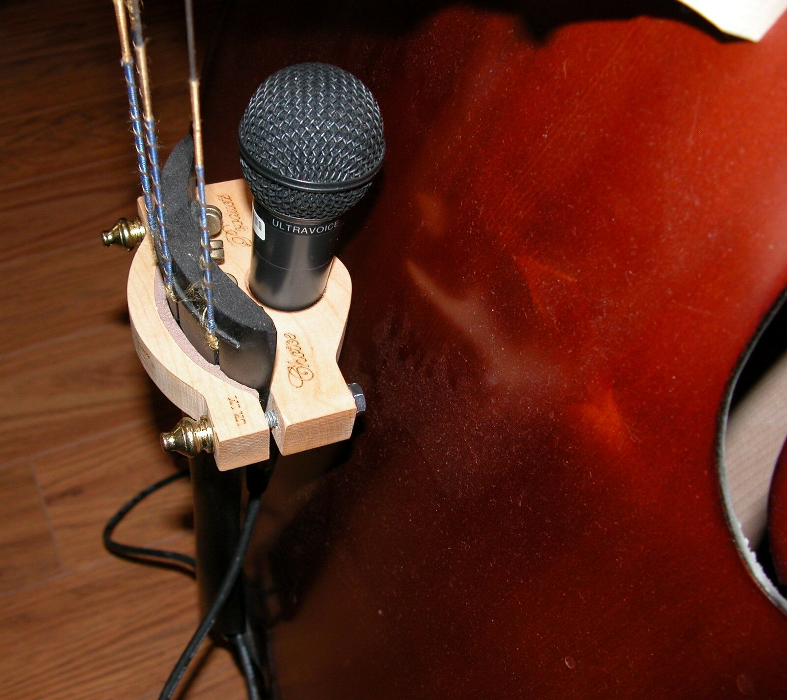 Upright-Contra Bass Microphone Holder-Maple  Hand Crafted in the U.S.A.
