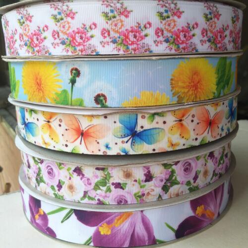 1/'/' Flower Printed Grosgrain Ribbon for Hand Making Diy Craft 5//10y 25mm