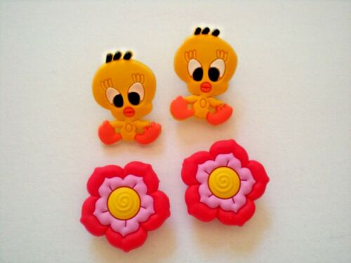Clog Shoe Charms Button Plug Accessories Bracelet WristBand Tweety Bird Flower