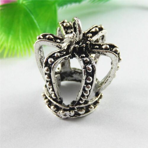 Vintage Silver Alloy Imperial Crown Charms Pendants Crafts Findings 6pcs 51705