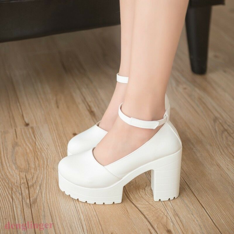 Women's Round Toe Ankle Strap High Platform Chunky High Heel shoes Pumps HOT NEW