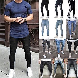 Men-039-s-Skinny-Ripped-Jeans-Biker-Distressed-Denim-Pants-Stretch-Slim-Fit-Trousers