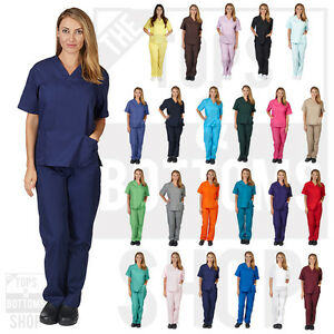 Unisex-Men-Women-Natural-Uniforms-Medical-Nursing-Scrub-Set-Top-amp-Pants-BP101