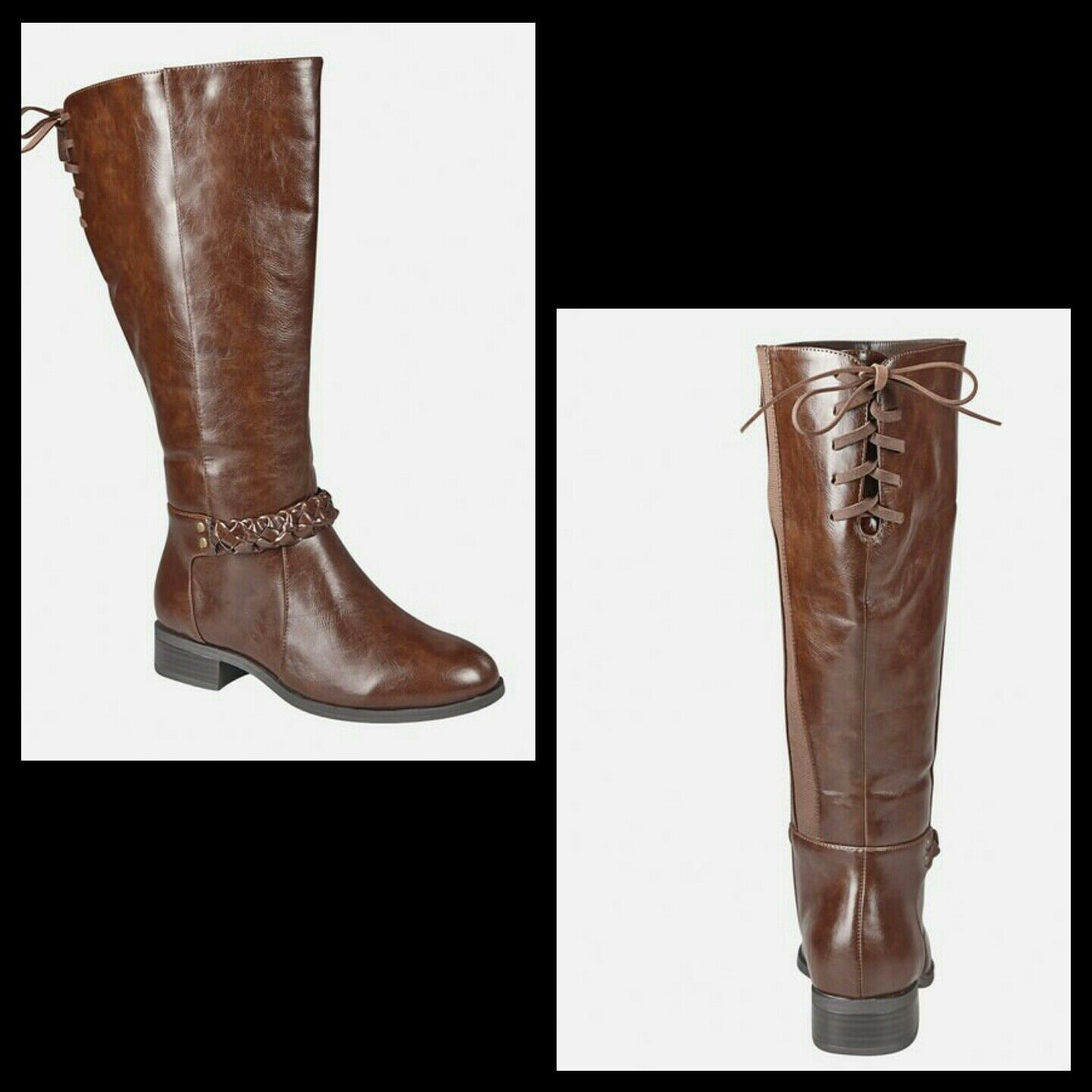 AVENUE Women's Kara Braided Riding Boot Brown Size 9.5W Wide Calf  305