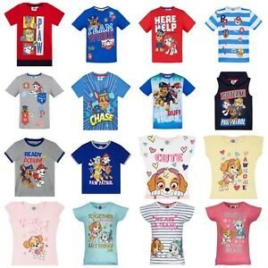 Boys-Girls-Kids-Paw-Patrol-Short-Sleeve-T-Shirt-Top-age-2-3-4-5-6-7-8-years