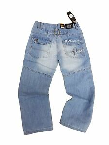 Boys ENZO Denim Jeans stonewash blue New Zip Fly cuffed jean joggers k20 jeans