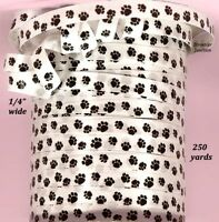 750 Ft. Of 1/4 Wide Dog / Cat Paw Print Curling Ribbon - Black On White
