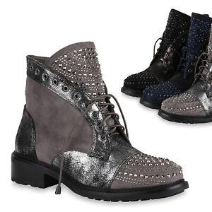 Trendy Strass 818444 Zu Schnürstiefeletten Ösen Metallic Damen Schuhe Details Stiefeletten ym0OvNnw8